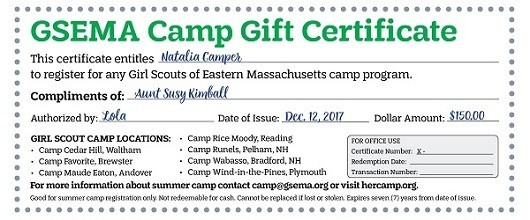 Camp Gift Certificate (Summer Camp 2019)