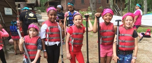 Girl Scout Troop getting ready to go canoeing at camp
