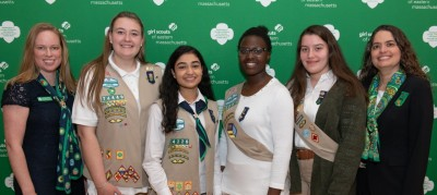 Four GSEMA Girl Board Members alongside council leadership