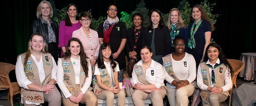 Group shot of Leading Women honorees, GSEMA staff, and Girl Scouts at the 2020 Leading Women Awards