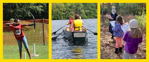 Three photos side-by-side of Girl Scouts doing outdoor activities at GSEMA camps